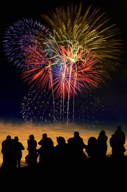 colorful fireworks celebration and the twilight sky background. - happy 4th of july zdjęcia i obrazy z banku zdjęć