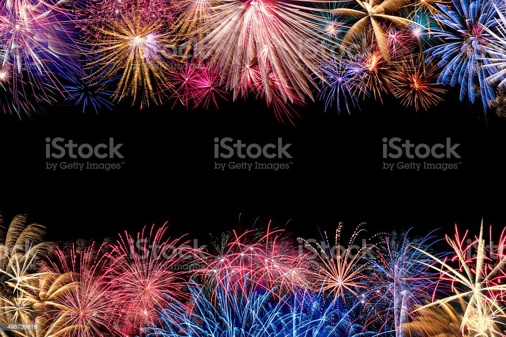 Colorful Fireworks Display Border stock photo