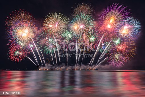 istock colorful fireworks display over the beach with the night sky background 1152612996