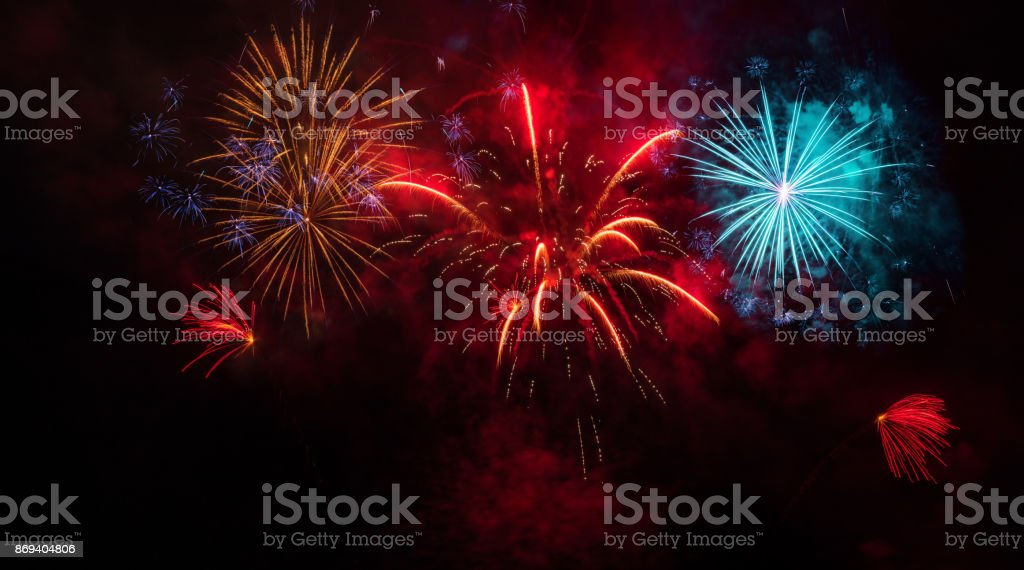 colorful Fireworks Display Fireworks Display on black sky 2017 Stock Photo