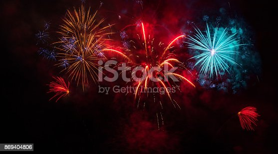 istock colorful Fireworks Display 869404806