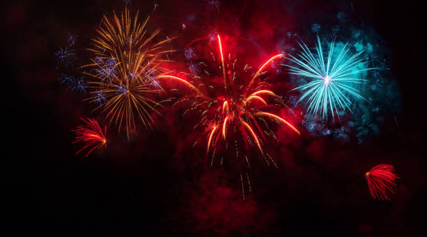 colorful fireworks display - firework display stock pictures, royalty-free photos & images