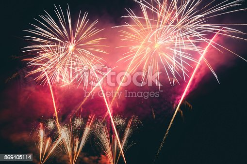 istock colorful Fireworks Display 869405114