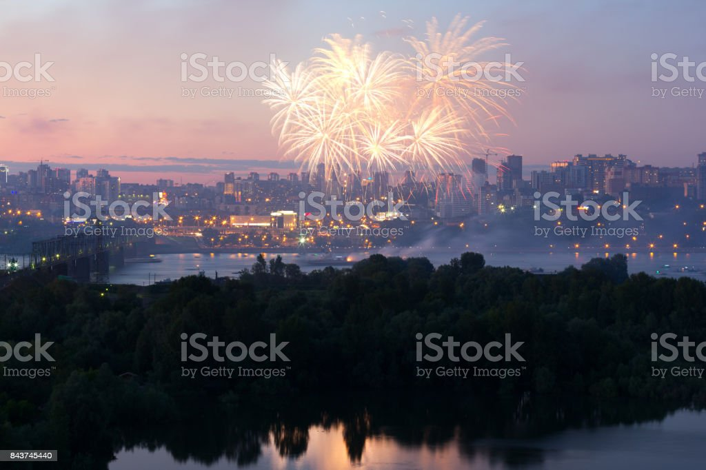 Colorful fireworks festival  at the river. stock photo