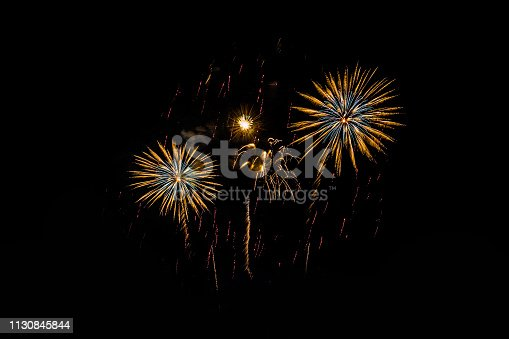 istock Colorful fireworks festival happy new year 1130845844