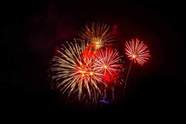 Colorful fireworks festival happy new year Colorful fireworks festival happy new year pyrotechnic effects stock pictures, royalty-free photos & images