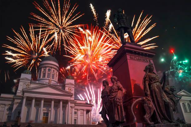colorful fireworks in Helsinki.