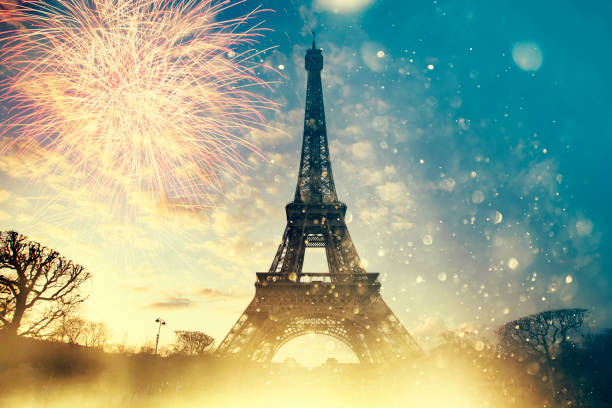 Colorful fireworks in Paris, Eiffel tower. stock photo