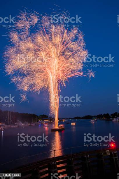 Photo of Colorful fireworks launched from a barge explode in a deep purple-blue sky and reflect in the water of a river