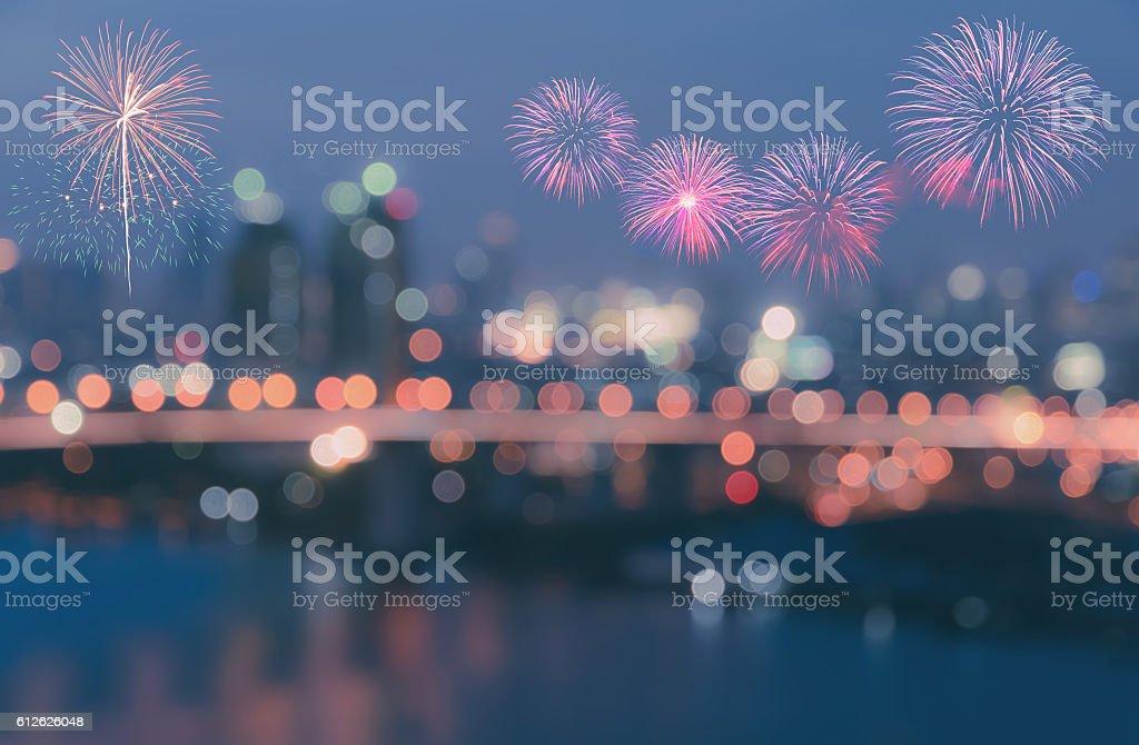 Colorful fireworks on blurred bokeh city lights background – Foto