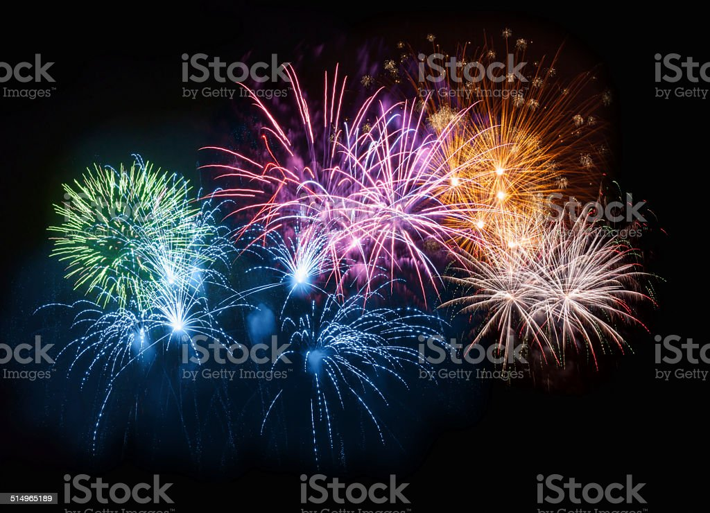 Colorful Fireworks on Night Sky Colorful firework display in night sky. Arts Culture and Entertainment Stock Photo