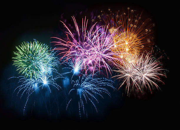 colorful fireworks on night sky - fireworks stock pictures, royalty-free photos & images