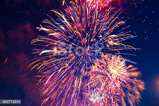 542714484 istock photo colorful fireworks on the black sky background 542714314