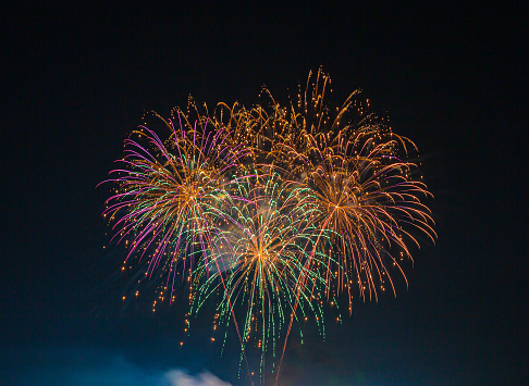 A single firework explodes against the night sky.