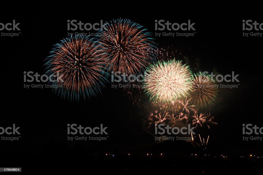 Colorful fireworks over dark sky 免版稅 stock photo