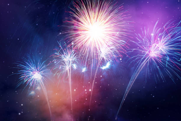 colorful fireworks colorful fireworks on the night sky background. firework display stock pictures, royalty-free photos & images