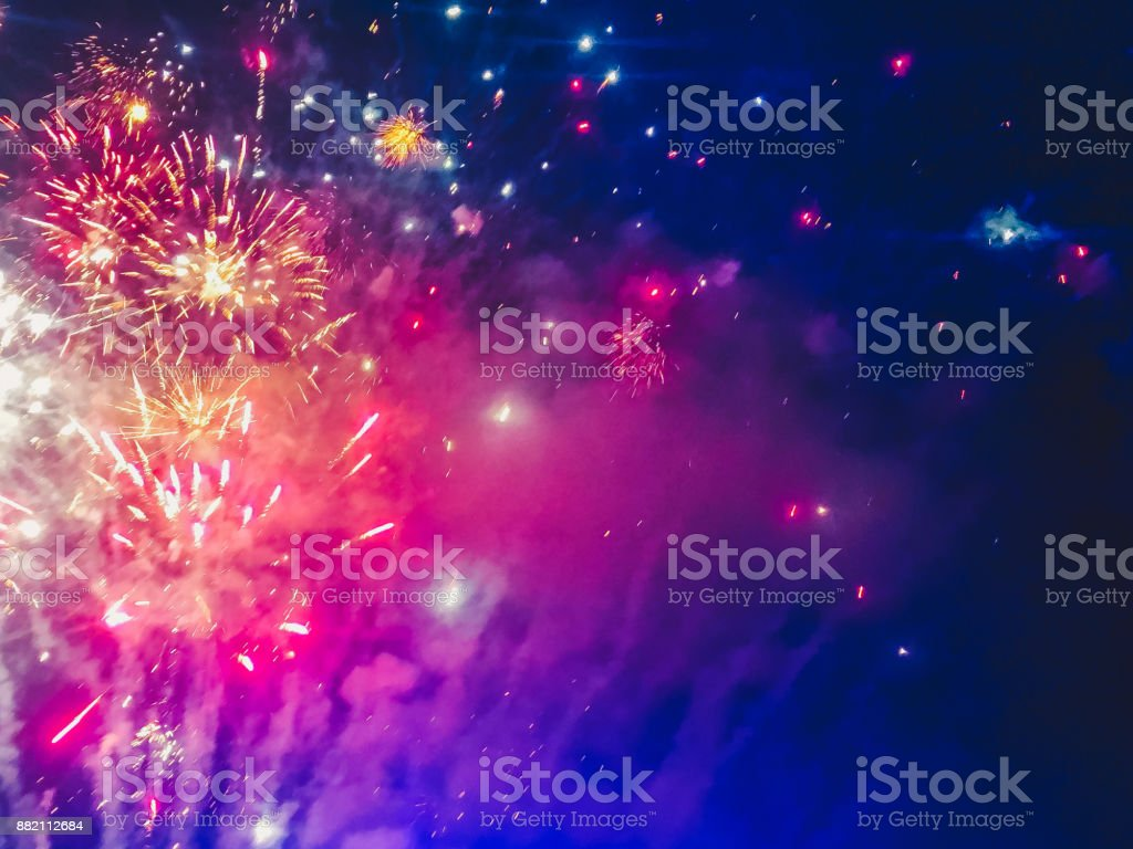 Colorful fireworks to welcome the new year stock photo