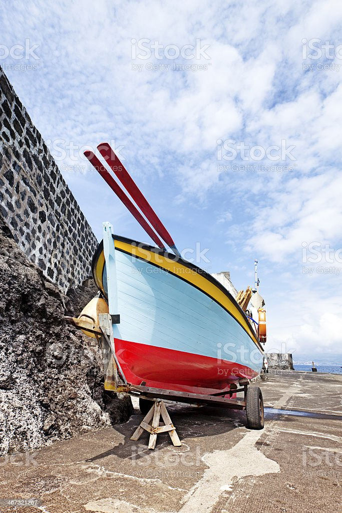Colorful fisher boat, Calhau, Pico, Azores royalty-free stock photo