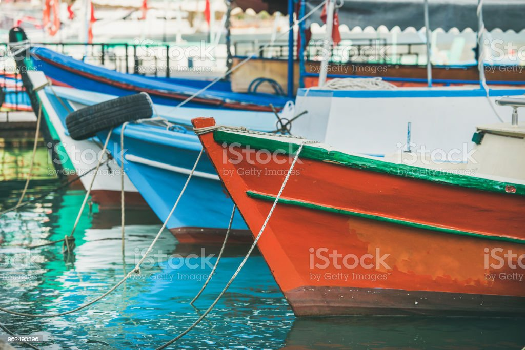 Colorful fishermens boats in small Mediterranean town - Royalty-free Alanya Stock Photo