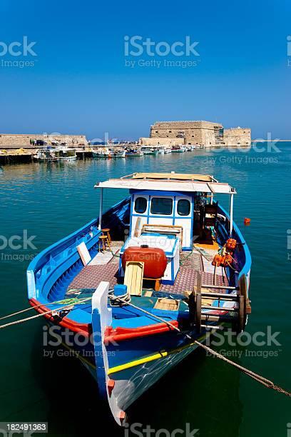 Colorful Fishing Boat Iraklion Harbor Crete Stock Photo - Download Image Now