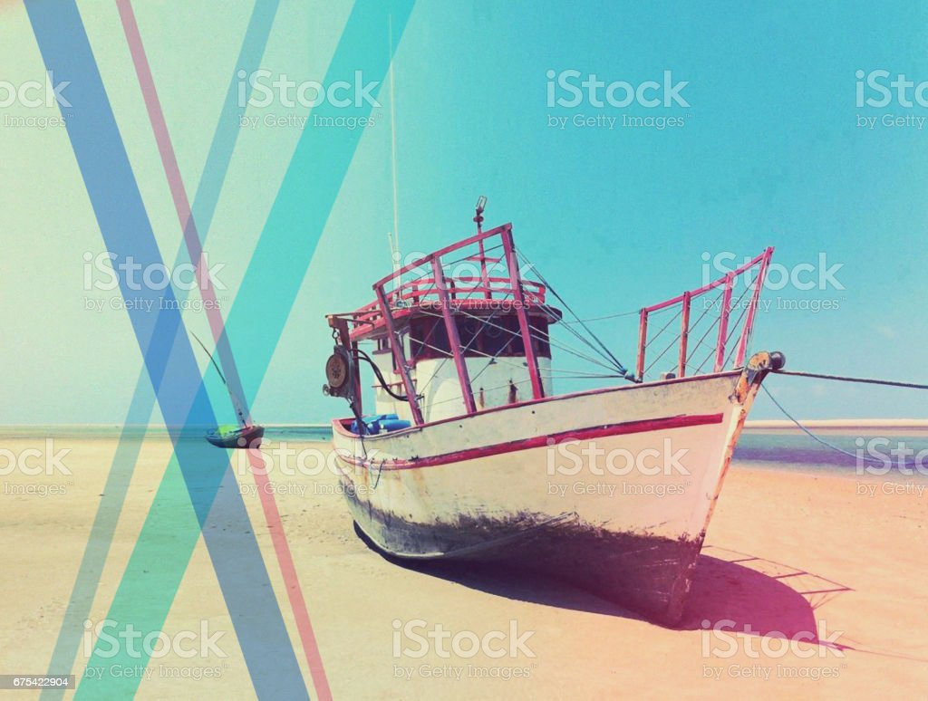 12-040 Colorful fishing boat on the beach, Brazil royalty-free stock photo