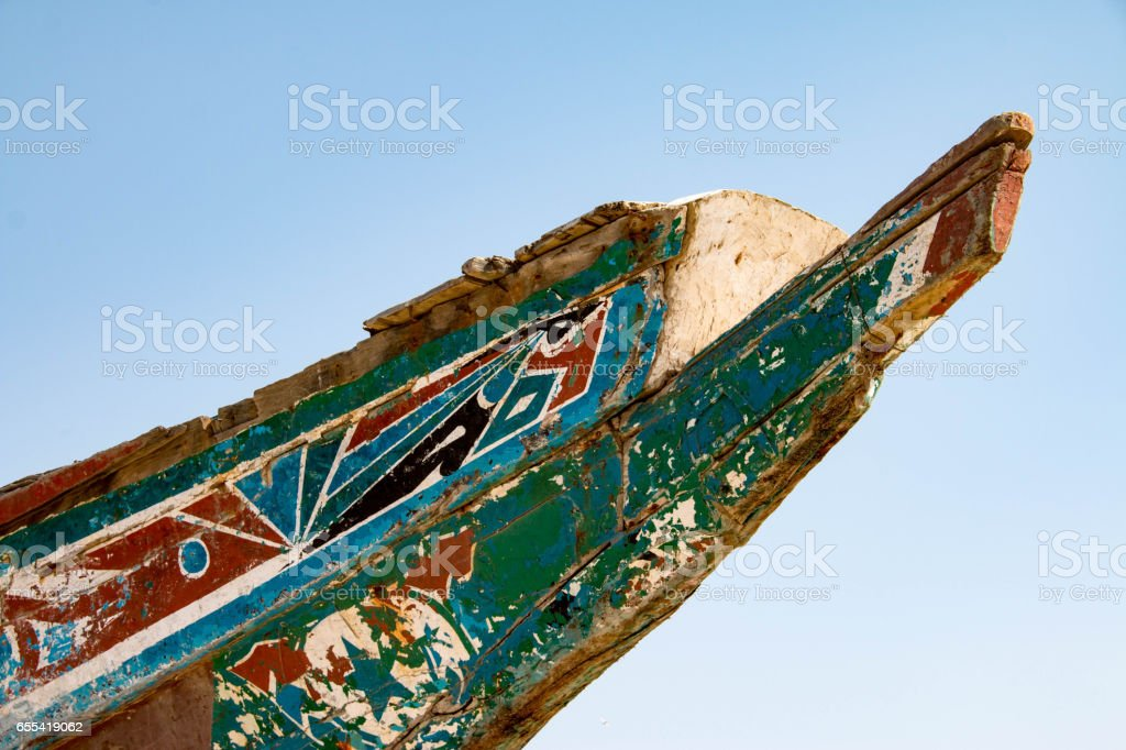 Colorful fishing boats in Tanji, a fishing village in the Gambia, West Africa stock photo