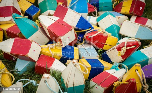 Assorted wooden fishing buoys