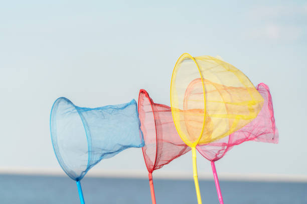 colorful fishing nets on beach