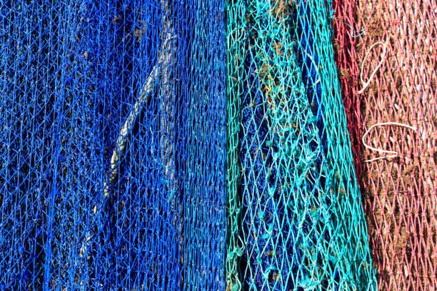 Colorful fishing nets. stock photo