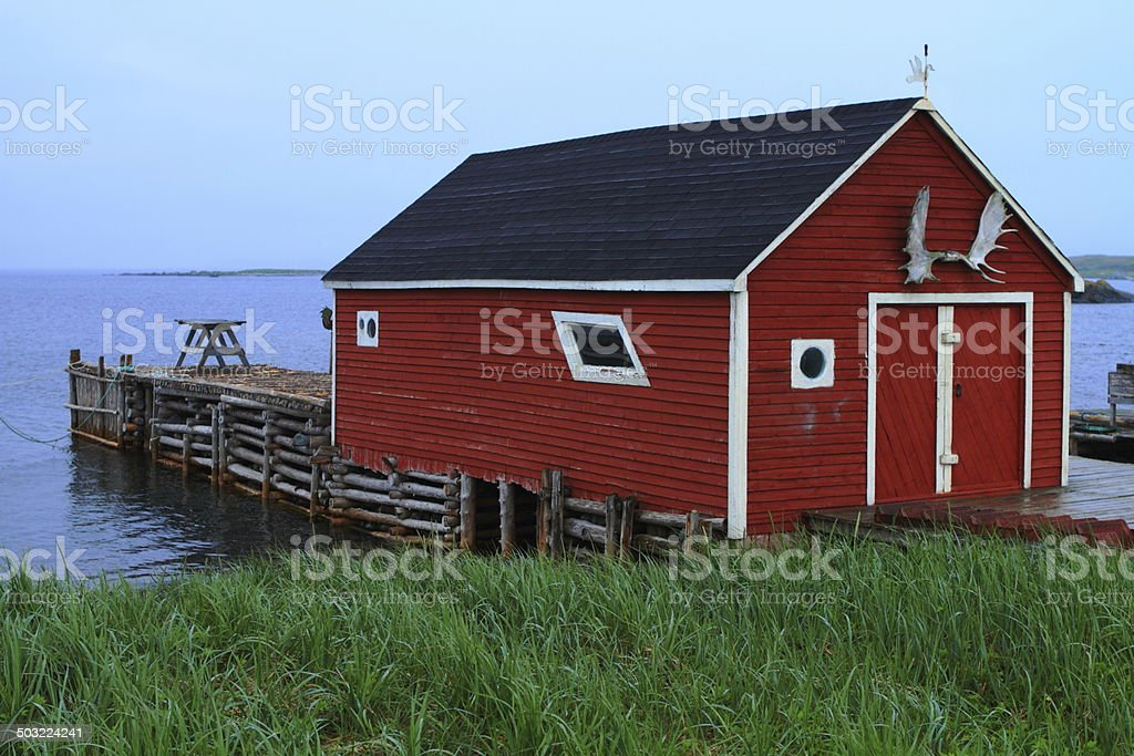 Colorful fishing shack stock photo