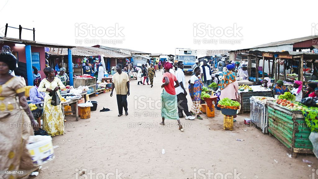 Colorful fishing village in west africa. stock photo