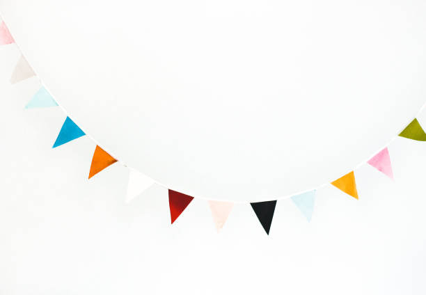 colorful flag garland - garland decoration stock photos and pictures