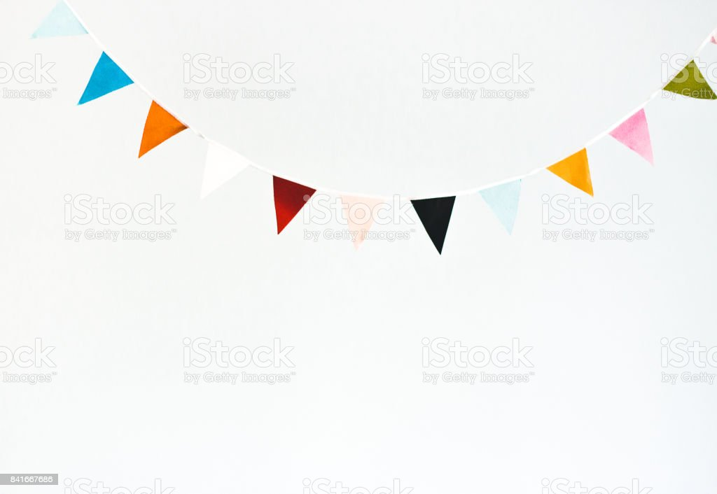 Colorful flag garland stock photo