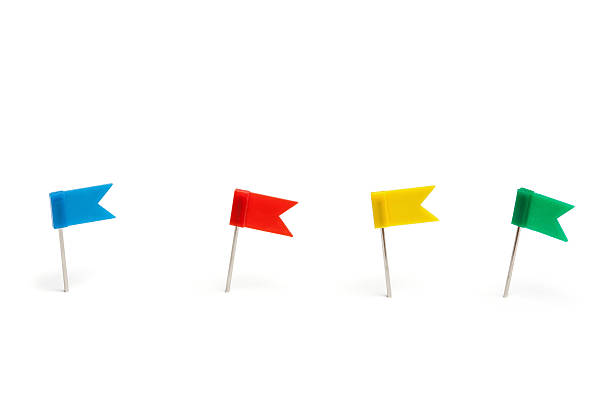 Colorful flag push pins stock photo