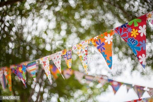 istock Colorful flags in garden 834732572