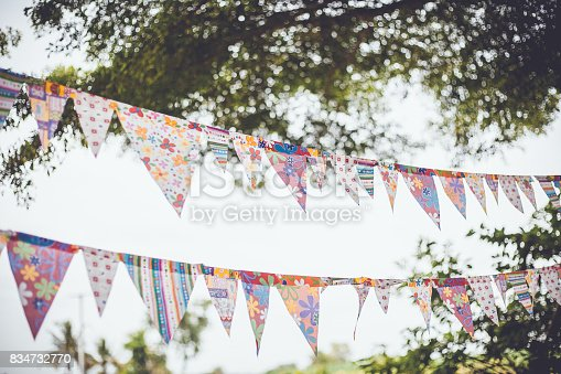 istock Colorful flags in garden 834732770
