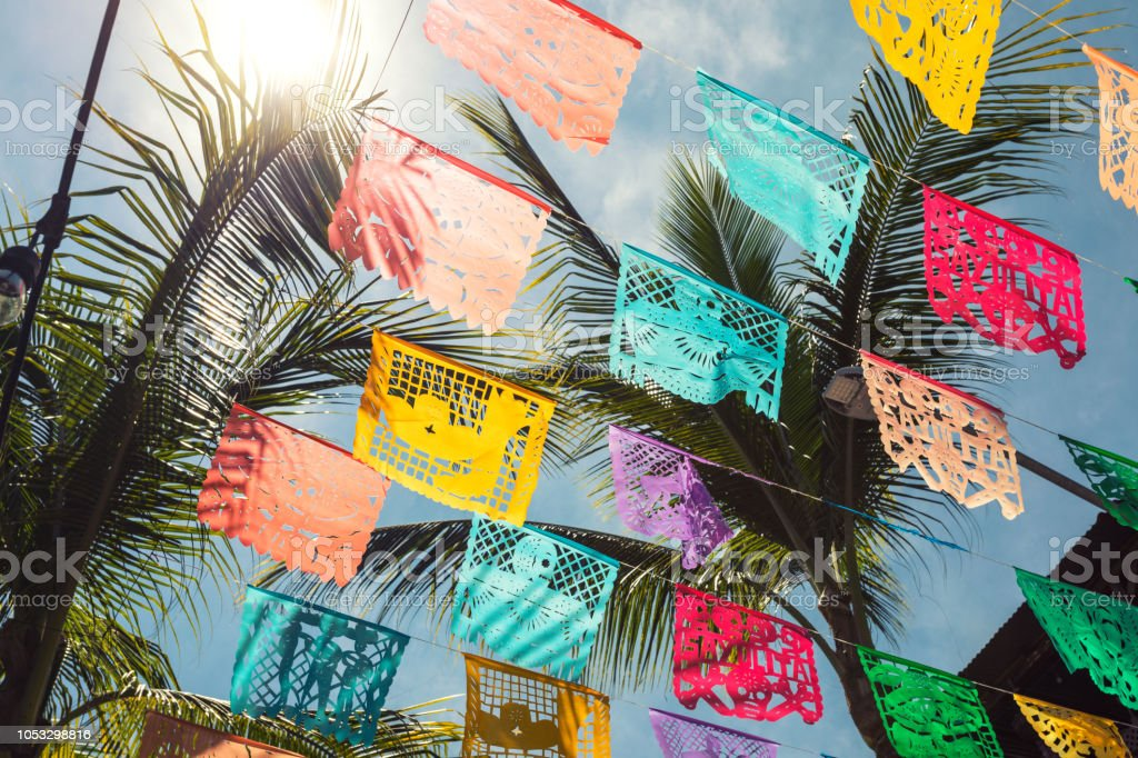 Colorful flags in the town of Sayulita stock photo