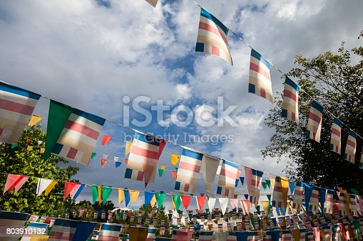istock Colorful flags with blue sky 803910132