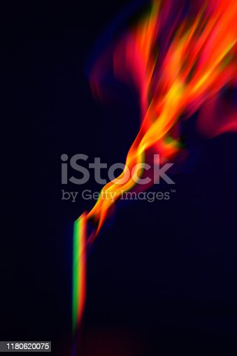 Colorful Flame Fiery Smoke Incense Stick Torch Match Black Background Glitch Prism Effect Filter Photography