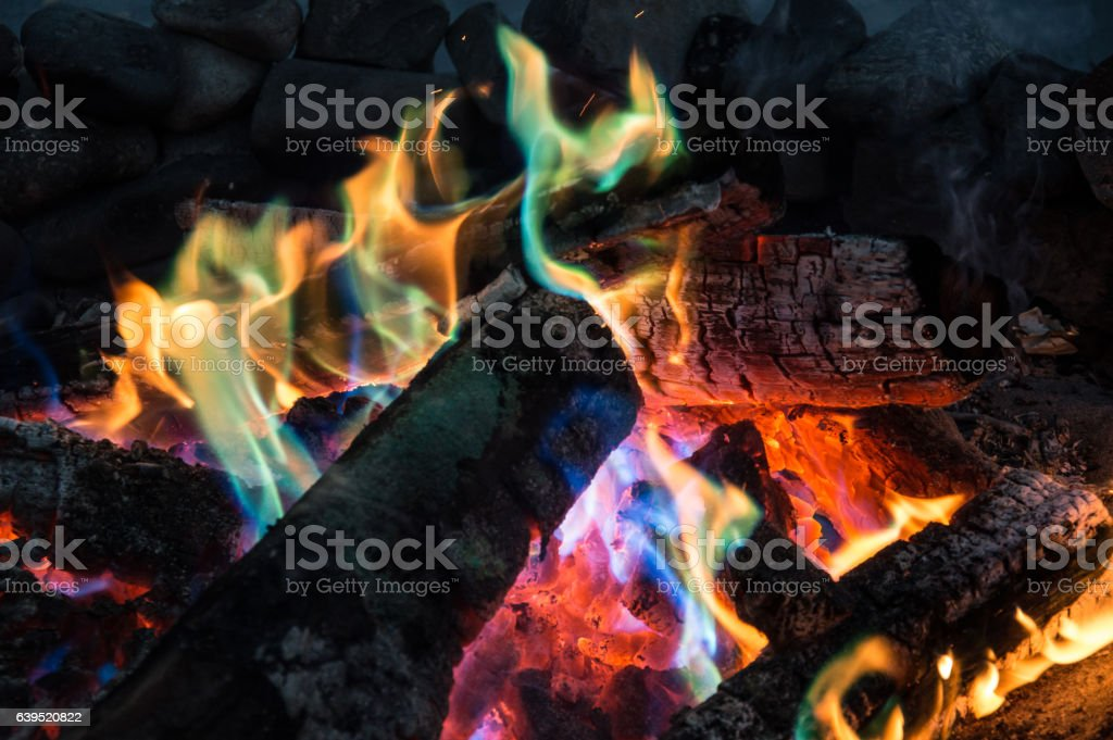Colorful flames, fireplace - Stock image stock photo