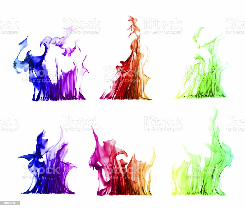 colorful flames isolated on white background stock photo