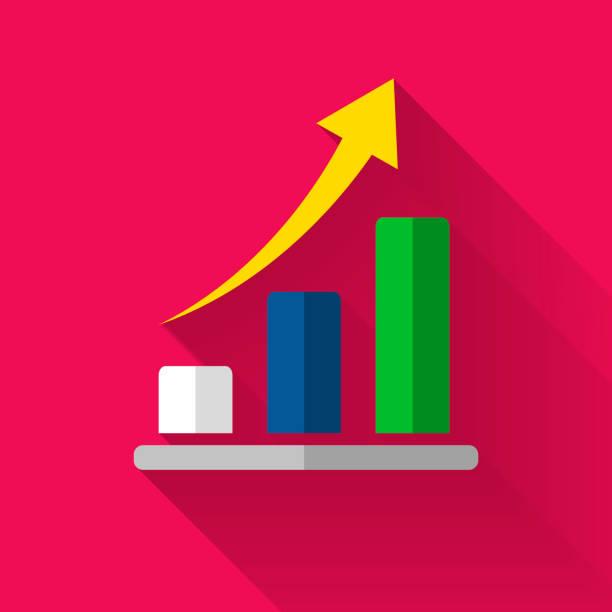 coloré design plat des finances icône bar tableau - design plat photos et images de collection