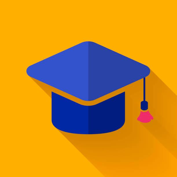 casquette coloré design plat icône de remise des diplômes - design plat photos et images de collection