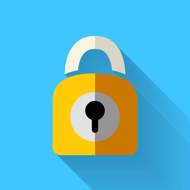 colorful flat design padlock icon - flat design stock photos and pictures
