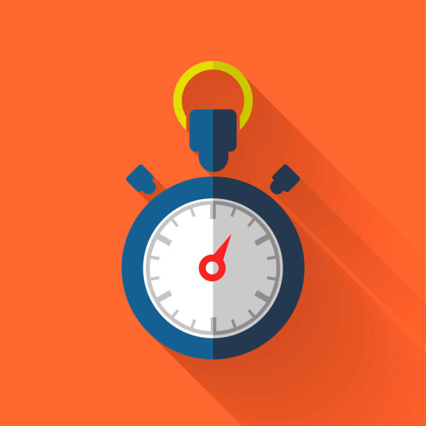 colorful flat design stopwatch icon - flat design stock photos and pictures