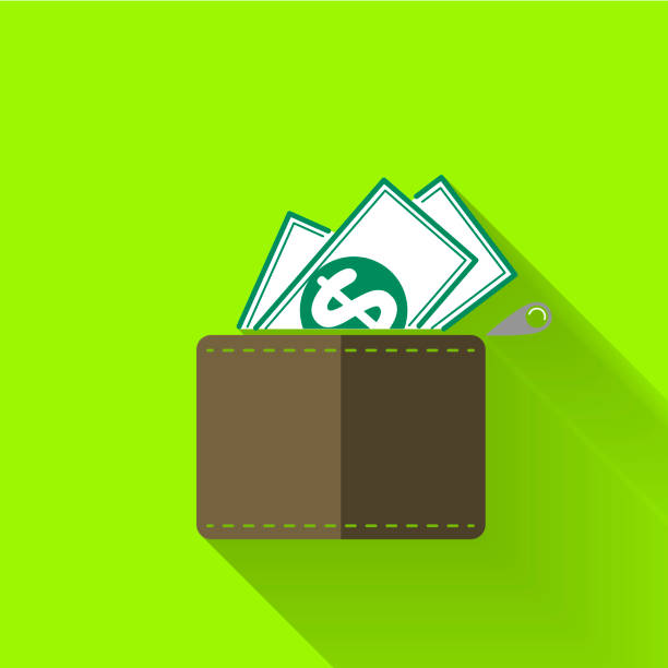 colorful flat design wallet icon stock photo