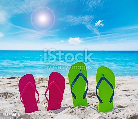 istock colorful flip flops on the sand 538778516
