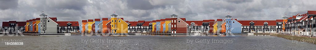 Colorful floating houses stock photo