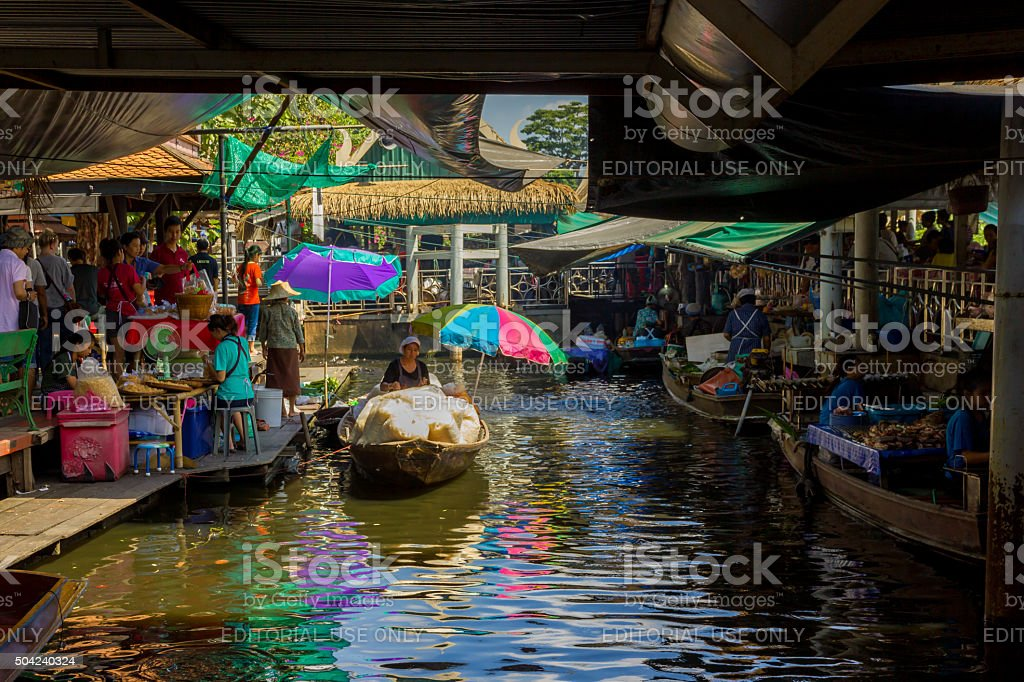 Colorful Floating Market stock photo