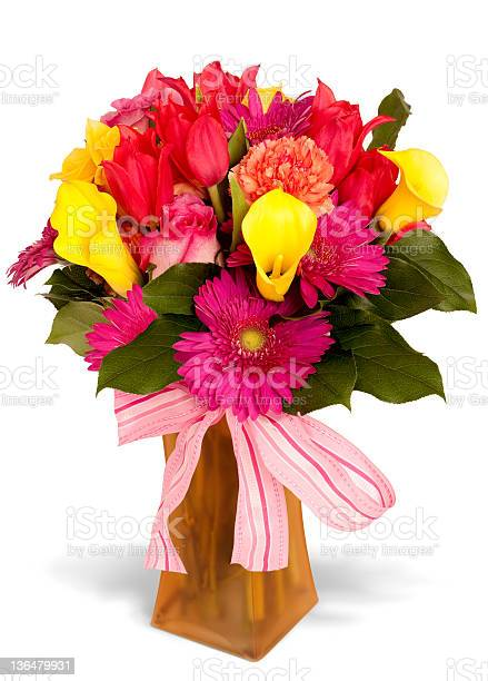 Colorful floral arrangement with pink striped bow and frosted vase picture id136479931?b=1&k=6&m=136479931&s=612x612&h=eorffygy7hzikxaejb14lshptf8s4mhceqnoltqvpxu=
